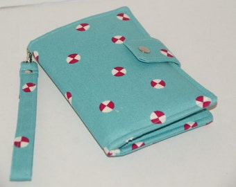 """Cell Phone Wristlet Wallet for iPhone6 Plus / Samsung Galaxy S6 Edge+ / Nexus 6 Made with Cotton Oxford """"Mint Candy""""   Size: XL"""