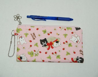 "Padded Zipper Pouch / Pencil Case / Cosmetic Bag Made with Japanese Cotton Oxford Fabric ""Tama and Friends"" Pink"