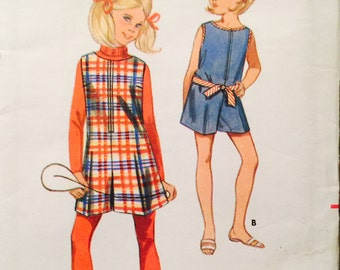 Butterick 4919 Girl's Pantdress or Pantjumper Pattern, UNCUT, Size 10, Romper, One-Piece, Vintage 1960's, Casual Wear, Front Zipper, Retro