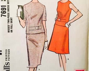 McCall's 7691 Misses' Two-Piece Dress with Slim or Full Skirt Pattern, UNCUT, Size 18, Vintage 1965, Retro, Mid Century, Style, Fashion