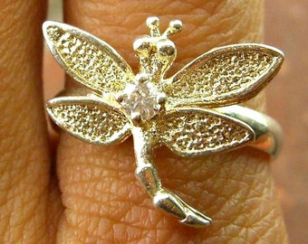 Vintage Cubic Zirconia Textured Dragonfly Ring