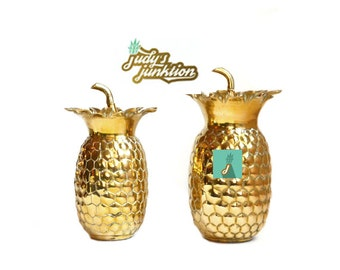 Vintage Brass Pineapple Vase Brass Pineapple Boxes Set of 2 Pineapples Wedding Table Decor Brass Wedding Vase Ananas Pina