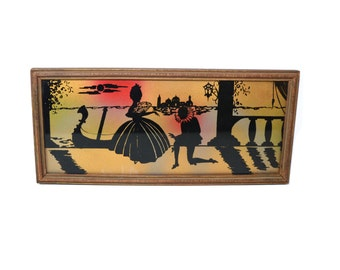 Vintage Silhouette Picture Framed Silhouette Wall Decor Romantic Reverse Silhouette