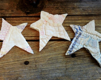 Vintage Star Appliques, Patchwork Cutter Quilt Christmas Elongated Star, Primitive Embellishments Fabric Cutout Patches itsyourcountry
