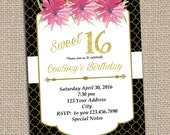 Black and Gold Birthday Invitation PRINTABLE INVITATION Sweet 16 Roses Black and White Girls Birthday