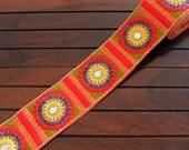 Orange Fabric Trim-Multi Color Thread Embroidered Fabric Trim-Orange Silk Sari Border Trim-Art Quilt Fabric-Orange Silk Ribbon By The Yard
