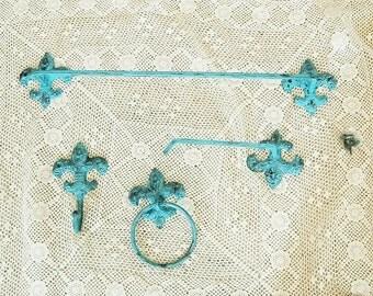 Cast Iron Verdigris Bathroom Hardware Indian Turquoise Fleur Di Lis