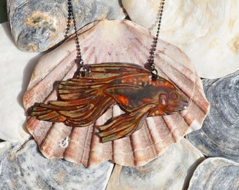 Enamel goldfish necklace