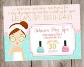 Spa Birthday Party Invitation- Digital