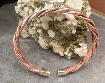 Single Twisted Flatened Copper Cuff with 22 Magnum End Caps