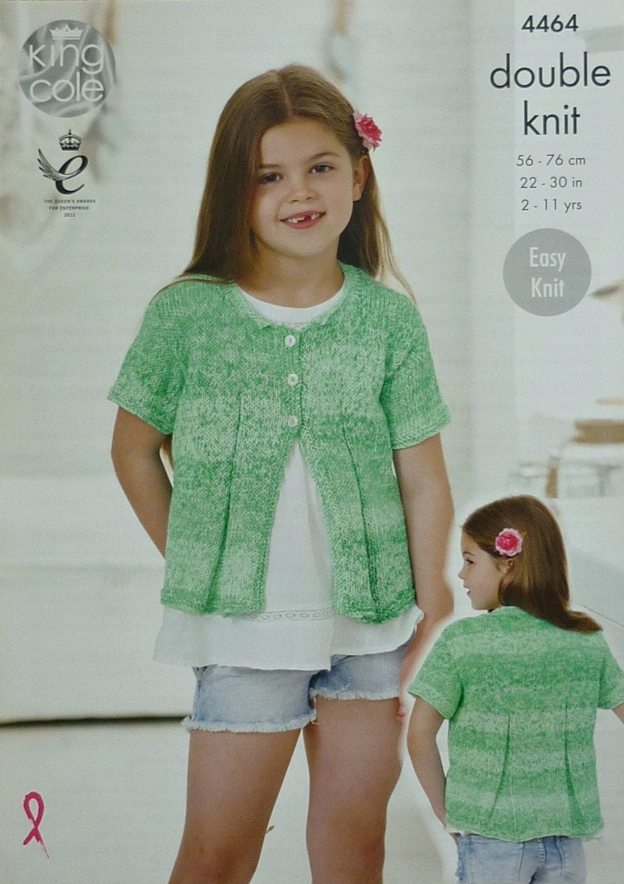 Girls Knitting Pattern K4464 Childrens Easy Knit Short Sleeve ...