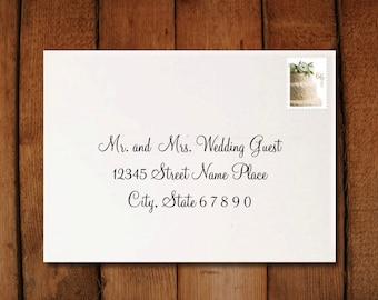 Wedding Calligraphy Digital Envelope Formatting to print at home - Peony Font