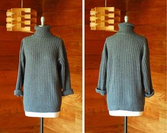 vintage Italian grey wool & angora turtleneck sweater / size small medium large