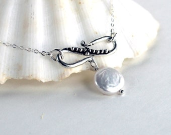 Infinity Freshwater Coin Pearl Sterling Silver Lariat Necklace - Free U.S Shipping- Valentine's Day- Wedding- Mother's Day