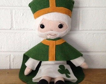 Catholic Doll - Saint Patrick - Wool Felt Blend - Catholic Toy - Felt Doll