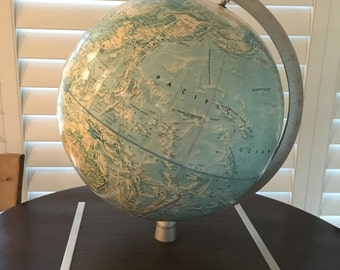 World  Globe Rand Mcnally on wood base mid century