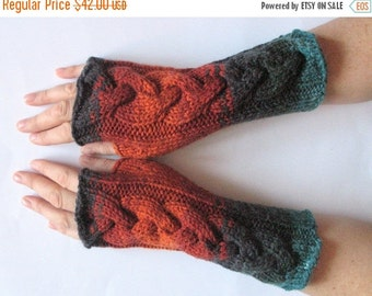 Fingerless Gloves Brown Orange Blue Black Wrist Warmers