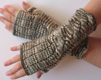 Fingerless Gloves Brown Beige Gray White wrist warmers