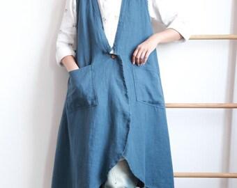 Blue/ Linen Color/ red long cotton and linen vest coat