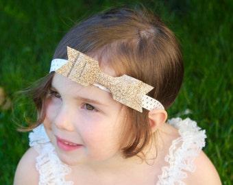 Gold Bow Headband - Gold Bow - Gold Glitter Bow Headband