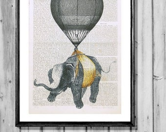 AVIATOR ELEPHANT giclee print poster dictionary art air balloon wall decor poster illustration
