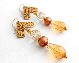 Leopardskin, Patina Brass, Venetian Glass Beads, Vintage, Lucite, Dangle Earrings