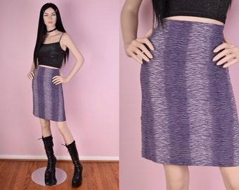 90s Purple Tiger Print Glitter Skirt/ 24-28 Waist/ 1990s/ Clubkid/ Animal Print