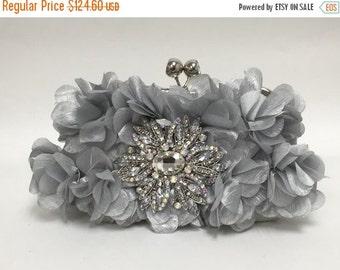 Wedding clutch, formal evening bag,  bridesmaid clutch, vintage inspired clutch, bridesmaid bag, Silver ruffle clutch, wedding accessory