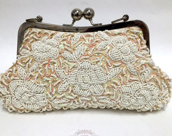 Bridal clutch, pearl clutch, Victorian evening bag, bridal bag, briesmaid clutch, Champagne clutch, wedding clutch, formal bag, wedding bag