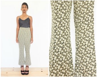 90s Mini Floral Print High Waist Flare Pants / 24-25 Waist