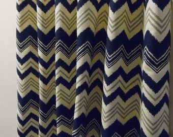 SALE Pair of Nina Zazzle Birch Navy Blue Natural Grey 25W x 63, 72,  84, 90, 96, 108, 120 Custom Drapes Curtains Chevron Zig Zag 2 panels