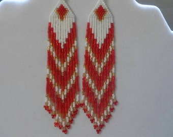 Native American Style Beaded Red Fall Earrings Shoulder Dusters Southwestern, Boho, Gypsy, Brick Stitch, Peyote, Ready to Ship