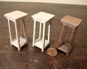 dollhouse miniature stool  in  walnut wood