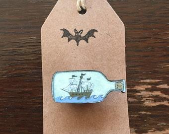 Ship in A Bottle Brooch