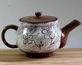 Ceramic Teapot with Flower Design, Handmade Ceramic Teapot, Carved Pottery Teapot, Brown Teapot