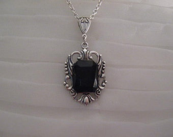 Victorian necklace 18 inch Sterling Silver necklace Victorian jewelry steampunk black necklace
