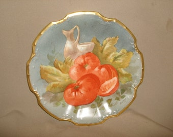 """Antique LIMOGES France Hand Painted Plate with TOMATOES & Gold Trim ~ Artist SIGNED ~ (8-3/4"""")"""