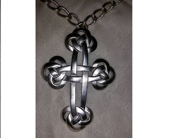 """Vintage c1970 Large CHUNKY TRIFARI Celtic Knot CROSS Necklace Pendant Style (4"""" × 2-3/4"""") ~ on 28"""" long chain"""