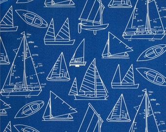 """Two 96"""" x 50""""  Custom  Curtain Panels -Sailboats - Indoor/Outdoor - Blue/White"""