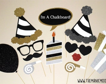 Birthday Party Photo Booth Props ~ 13 piece set ~ Siver, Gold, and Black ~ Glitter ~ You Choose Balloon Number