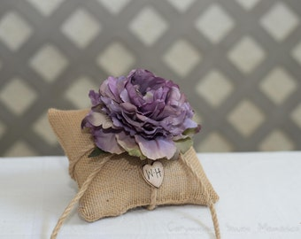 Purple Peony ring bearer pillow. Customize with flower and bride and groom initials