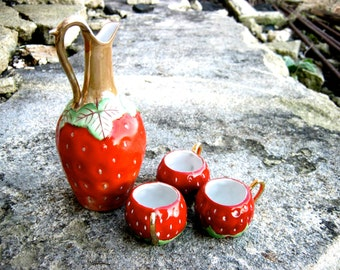 Vintage Porcelain Antique German Strawberry Schnapps/Cordial Drinks Set