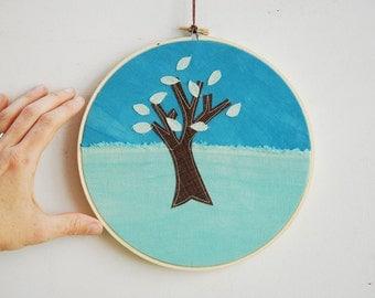 Quilted Fiber Art Hoop, Mini Art Project, Hoop Art, Stitch Art, OOAK Wall Hanging - Spring Tree