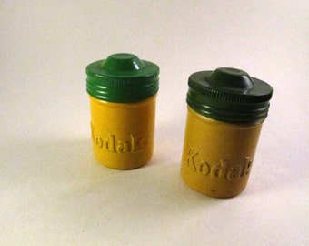 Yellow and green Kodak film canisters (pair) / vintage metal film canisters
