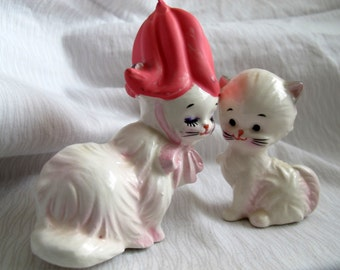 Pink and white cat salt and pepper shakers / pink tulip hat cat salt pepper shaker
