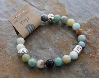 Amazonite Bracelet, Virgo Bracelet, Zodiac Bracelet, Astrology Bracelet, Zodiac Jewelry, Blue Stone Bracelet, Boho Bracelet