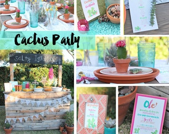 Cactus Package Printables, Printable Cactus theme party, Cactus invite, Cactus Invitation