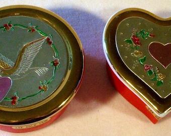 2 Vintage Valentine Chokin 24kt trim Jamestown China Trinket Box