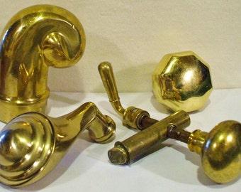 4 Solid Brass Vintage Door Knobs