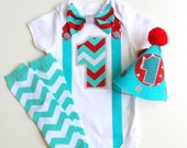 1st Birthday Boy Onesie, Party Hat & Leg Warmers Chevron Red and Aqua Blues Bow Tie and Suspenders Onesie All In One One Piece Bodysuit
